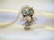 Aquamarine Owl Blue Rhinestone Eyes Pendant Necklace Silver Plate Glitzy Estate