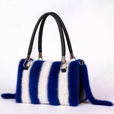Woman Fashion Black White Zebra Strips Mink Fur Doctor Handbag Fashion Tote Bag