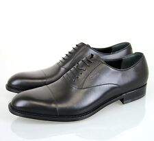 New Authentic Gucci Mens Smooth Leather Oxford, w/Script Logo, Black, 257823