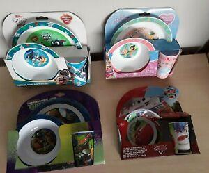 Disney Princess Cars Ninja Turtles Puppy Dog Pals Kids Dinner Set Plate Bowl Cup
