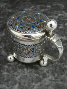 Antique Solid Sterling Silver Russian Style Enamel Mustard Pot c1900