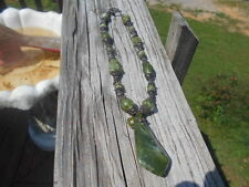 """ANTIQUE VINTAGE CHINESE CARVED JADE AND STERLING NECKLACE 18"""" HAS HALLMARK-LATCH"""