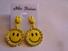 Ohrringe lachender runder gelber Smiley mit Strassstein gelber Hasenstecker 3312