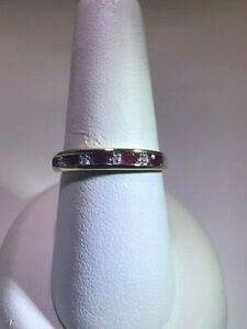 Ladies Ruby and Diamond band set in 10 Kt Yellow Gold