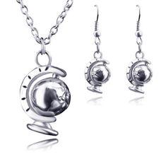 Unique Silver Women Gift Rotatable Pendant Necklace Globe World Mini