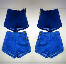 DARK DENIM HIGH WAIST BANGKOK SHORT SIDE ZIPPER SMALL