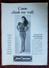 1970 Print Ad JUST PANTS Fashion Stores ~ Sexy Girl See-Through Shirt