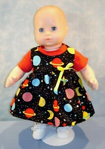 """15"""" Doll Clothes Planets & Stars on Black Jumper & Red T Shirt by Jane Ellen"""