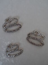 3 Embroidered Silver Glitter Double Rings With Heart Self Adhesive