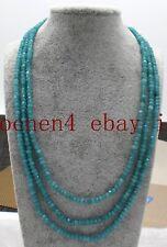 Pretty 3 Row 2x4mm Blue Aquamarine Rondelle Gemstone Beads Necklace 18-20'' AAA