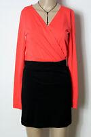 Vero Moda Kleid Gr. S lachs-rot/schwarz kurz Baumwolle Party Shirt Mini Kleid
