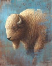 CONTEMPORARY WHITE BUFFALO REALISM AND ABSTRACT 13 X 19 PRINT BY LEE CASBEER