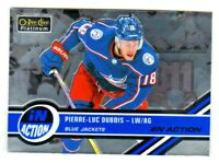 2017-18 OPC Platinum IN ACTION #IA-25 PIERRE-LUC DUBOIS RC Rookie Blue Jackets