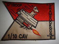 "Vietnam War Patch US D Troop 1st Squadron 10th Cavalry Regiment ""SHAMROCK GUNS"""