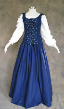 Navy Blue Renaissance Bodice Skirt Chemise Medieval Pirate Gown Cosplay Medium
