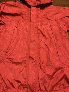 MARMOT SIZE L(10-12) BOYS RED FULL ZIP NYLON OUTDOOR HOODED RAIN JACKET