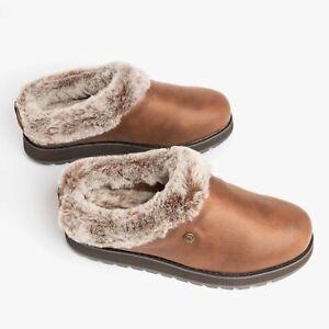 Skechers KEEPSAKES - R E M Ladies Womens Faux Fur Slip On Mule Slippers Brown