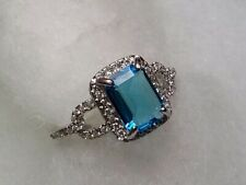 Dazzling 2.92 ctw simulated blue topaz and diamond ring size 6