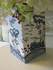 OKA Blue White Oriental Kraak Print Wood / Canvas Vase Storage Pot 13cm  NEW