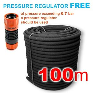 100m POROUS PIPE // SOAKER HOSE Garden Irrigation System_FREE Pressure Regulator