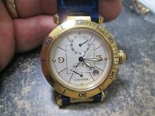 SUPERB CARTIER GMT PASHA POWER RESEVE AUTOMATIC 30J 18K GOLD Running WRIST WATCH