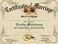 FSM Marriage Certificate : Pastafarian Flying Spaghetti Monster Wedding Strange
