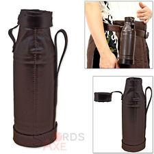 Leather Wrapped Flask Bottle Holder for Costume Renaissance Fair w Belt Loop
