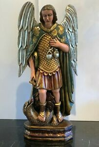 Impressive Carved Wood Polychrome Statue of Archangel Michael Slaying The Dragon