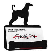 Swen Products Afghan Hound Dog Black Metal Business Card Holder