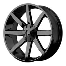 22x9.5 KMC KM651 Slide Gloss Black Wheel Rim 15 or 38 Offset Chevy Ford Dodge