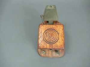Early 1900s Oak Cased Electric Wall-Mount Door Bell. Original finish,