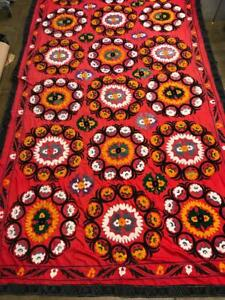 "Uzbek Embroidery Suzani Wall Hanging Textile 12'4"" X 6'11"