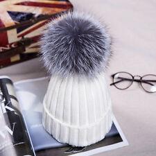 Womens Large 15cm PomPom Ball Knit Crochet Baggy Bobble Hat Beanie Beret Ski Cap