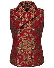 Devil Fashion Mens Vest Waistcoat Red Gold Damask Gothic Steampunk Aristocrat