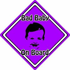Bad Baby/Child On Board Car Sign ~ Baby Face Silhouette ~ Neon Purple