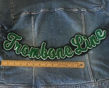 Chenille Patch Trombone Line Band Green Vintage Letterman Sew On Embroidered