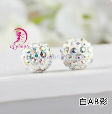10Pcs  Clear AB Crystal Rhinestones Pave Clay Round Disco Ball Spacer Beads 10MM