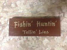 New Fishin Huntin Tellin Lies Wood Block Sign-cabin-woods-lake-man cave