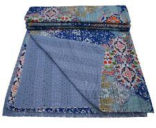 Indian Kantha Quilt Bedspread Reversible Bedding Throw Cotton Mandala Vintage Ar