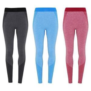 Womens 2 Tone Seamless Full Length Leggings Fitness Running Gym Casual Wear
