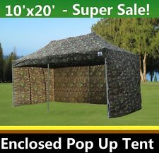 10'x20' Enclosed Pop Up Canopy Party Folding Tent Gazebo - Camouflage - E Model