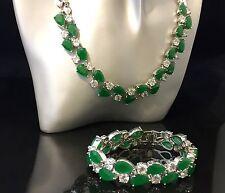 14k White Gold Necklace Bracelet Set made w/ Swarovski Crystal Emerald Green