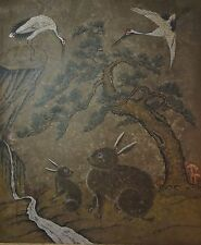 Very Fine Early 1900 Korean Folk Art MinHwa Hand Painting 2 Rabbits & 2 Cranes