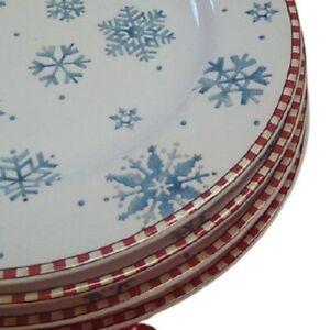 Set of 4 Debbie Mumm SNOWFLAKE dessert plates