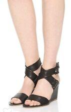 Rag & Bone Damien Black Leather Wedge Ankle Strap Sandals Sz 6.5 /36.5 New