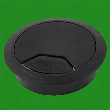 Black 50mm Computer Desk Grommet, Table Cable Tidy Hole Cover, 3 Part 2 Swivel