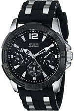 GUESS Men's Chronograph Stainless Steel Black Dial Silicone Watch W0366G1