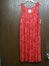 SUNDRESS W FLOWERS RED COTTON BLEND DRESS 2 SIDE POCKETS NWT