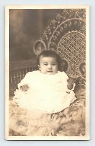 Crying Baby Waving Hands White Lace Dress In Wicker Chair RPPC