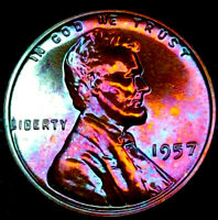 "1957 PROOF Lincoln Wheat Penny Cent- ""Beautifully Toned"" MS++ GEM++ BU++ 01"